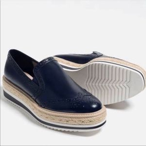 ZARA Navy Platform Espadrilles Slip On Loafers 6